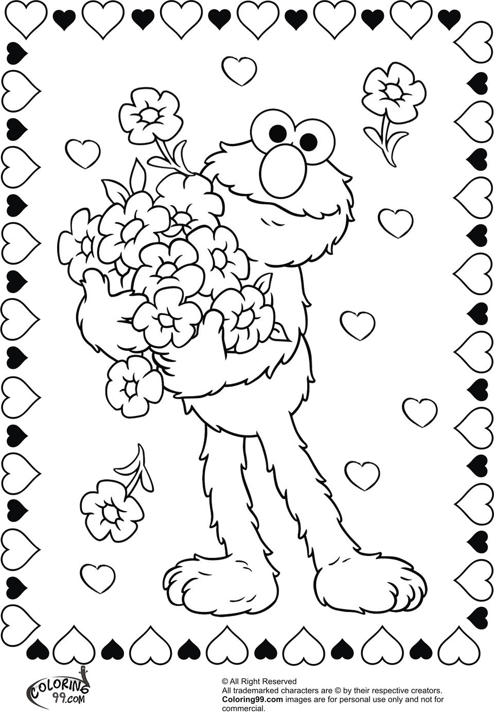 elmo holding flower for valentine coloring pictures