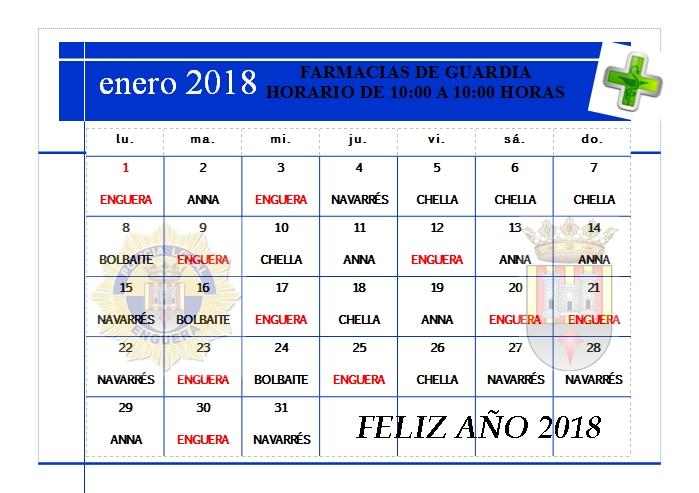 FARMACIAS DE GUARDIA ENERO 2018