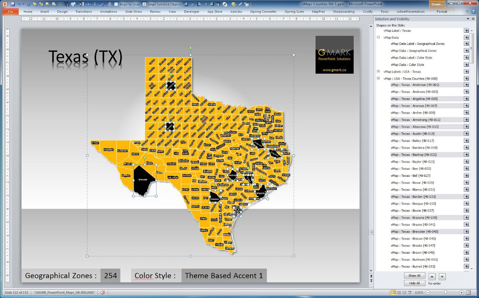 fully editable powerpoint maps by gmark usa state county