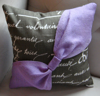 Burlap Bow Pillow    Purple Hues & Me