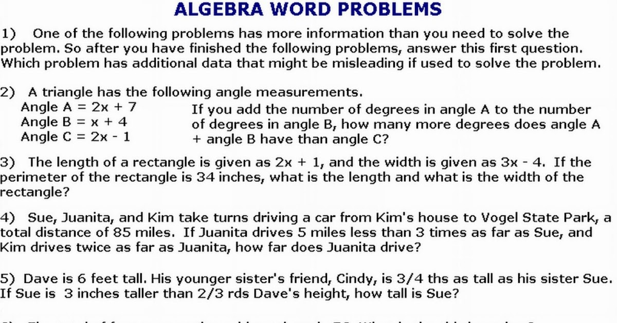 algebra word problems with solutions and answers pdf