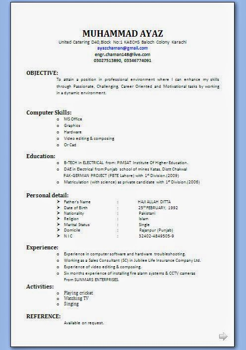 Free Simple Resume Format For Freshers Extremely Inspiration