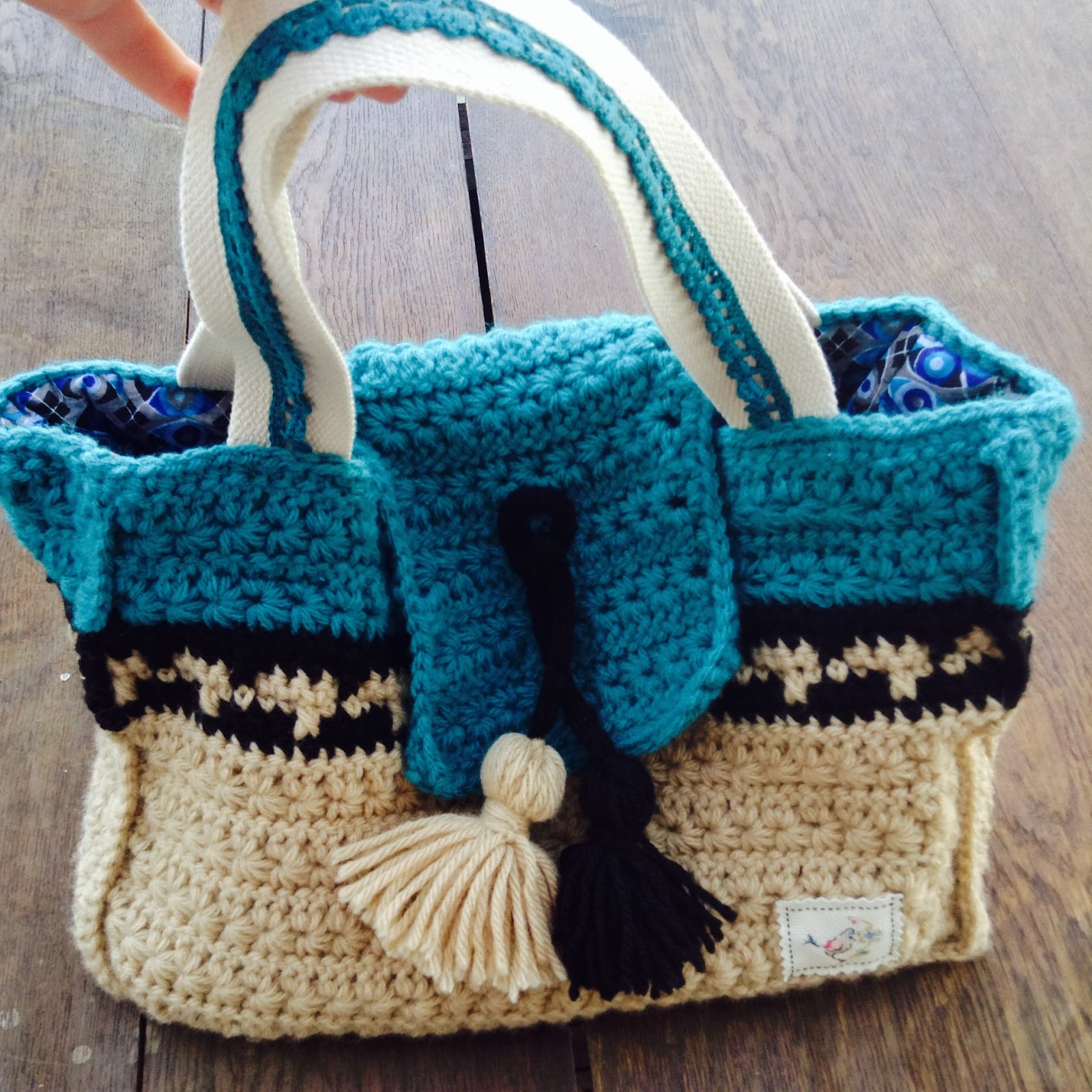 sac à mains en crochet, point étoile