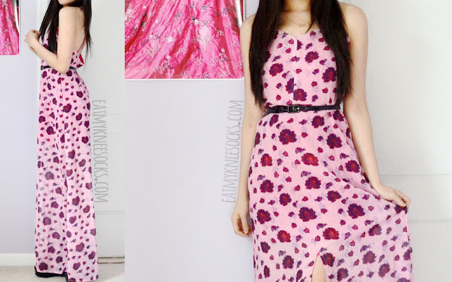 A summer beach outfit, featuring the pink floral maxi dress from SheIn.