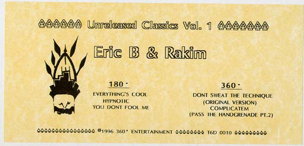 Eric B Amp Rakim Unreleased Classics Vol 1 Ep Vinyl