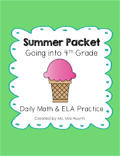 https://www.teacherspayteachers.com/Product/Summer-Packet-Going-into-4th-Grade-1833326