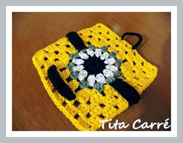 Square em crochet Minion