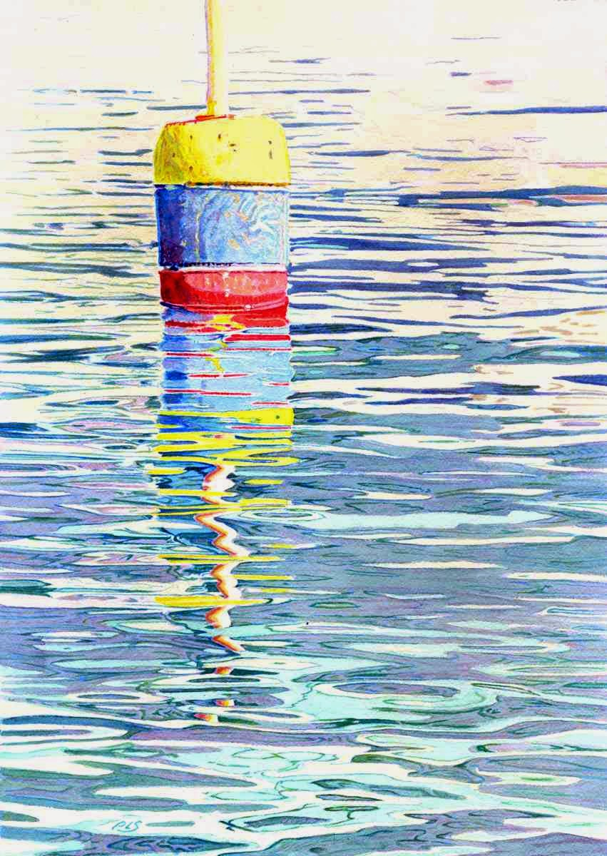 "Buoy Surreal III - Watercolor 14"" x 20"""