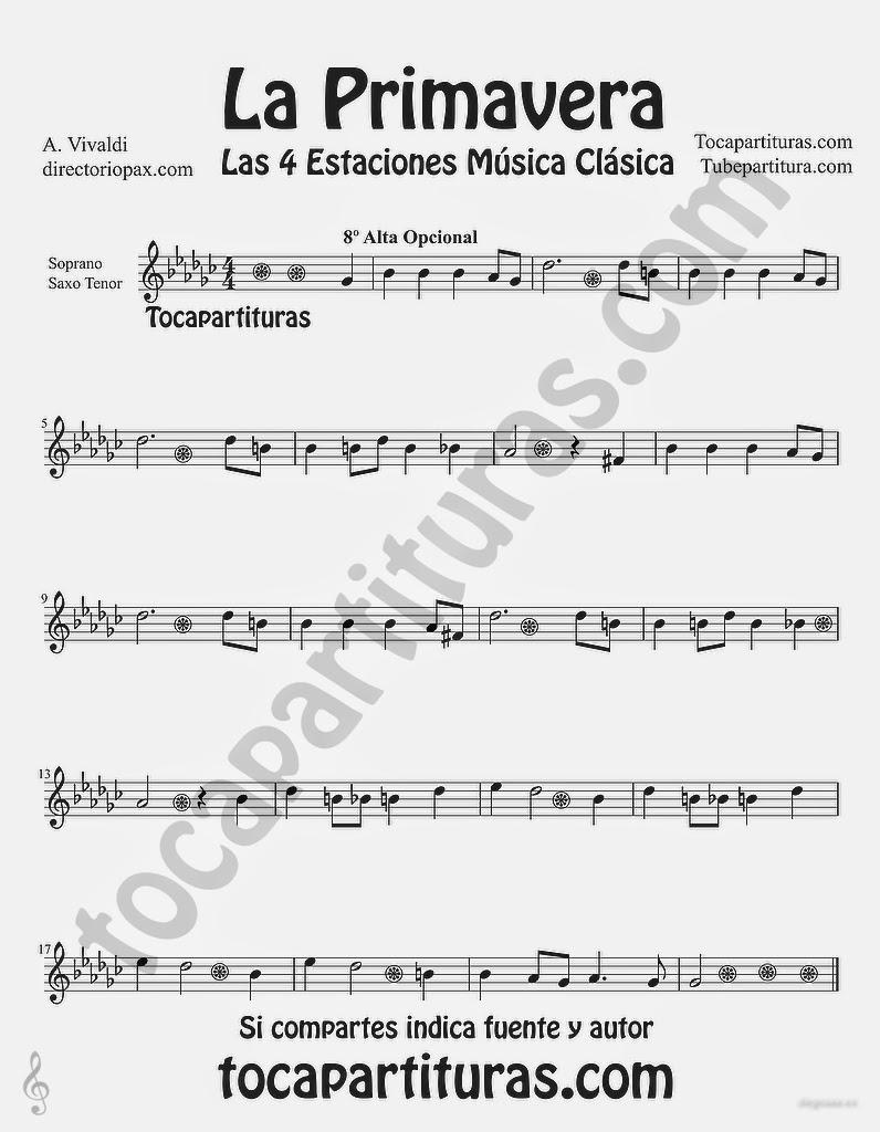 """Tubepartitura La Primavera de Antonio Vivaldi Partitura para Saxo Tenor y Saxo Soprano """"Las Cuatro estaciones de Vivaldi"""""""