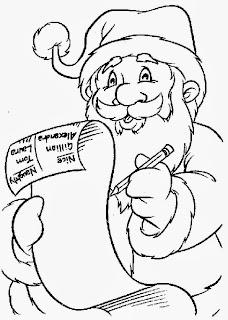 desenho de papai noel conferindo lista de presentes