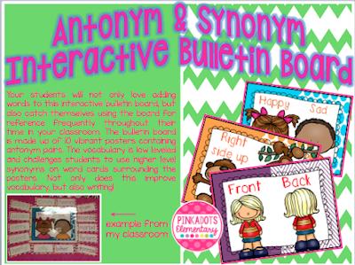 https://www.teacherspayteachers.com/Product/AntonymSynonym-Word-Wall-Interactive-Vocabulary-Building-Bulletin-Board-1228883