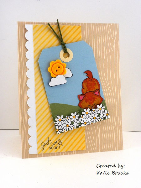 Get Well Kitty Card by Katie Brooks for Newton's Nook Designs