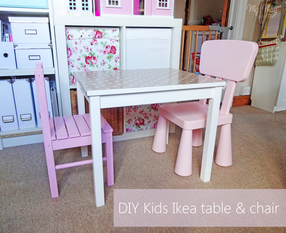When Hollie was little we bought her the wooden svala table and chairs from  Ikea and over the years it has been drawn all over and stained, as you