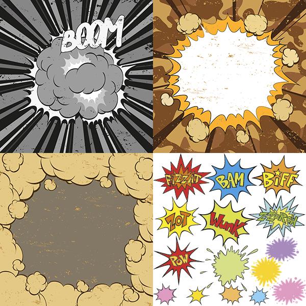 explociones tipo cómic vectorial