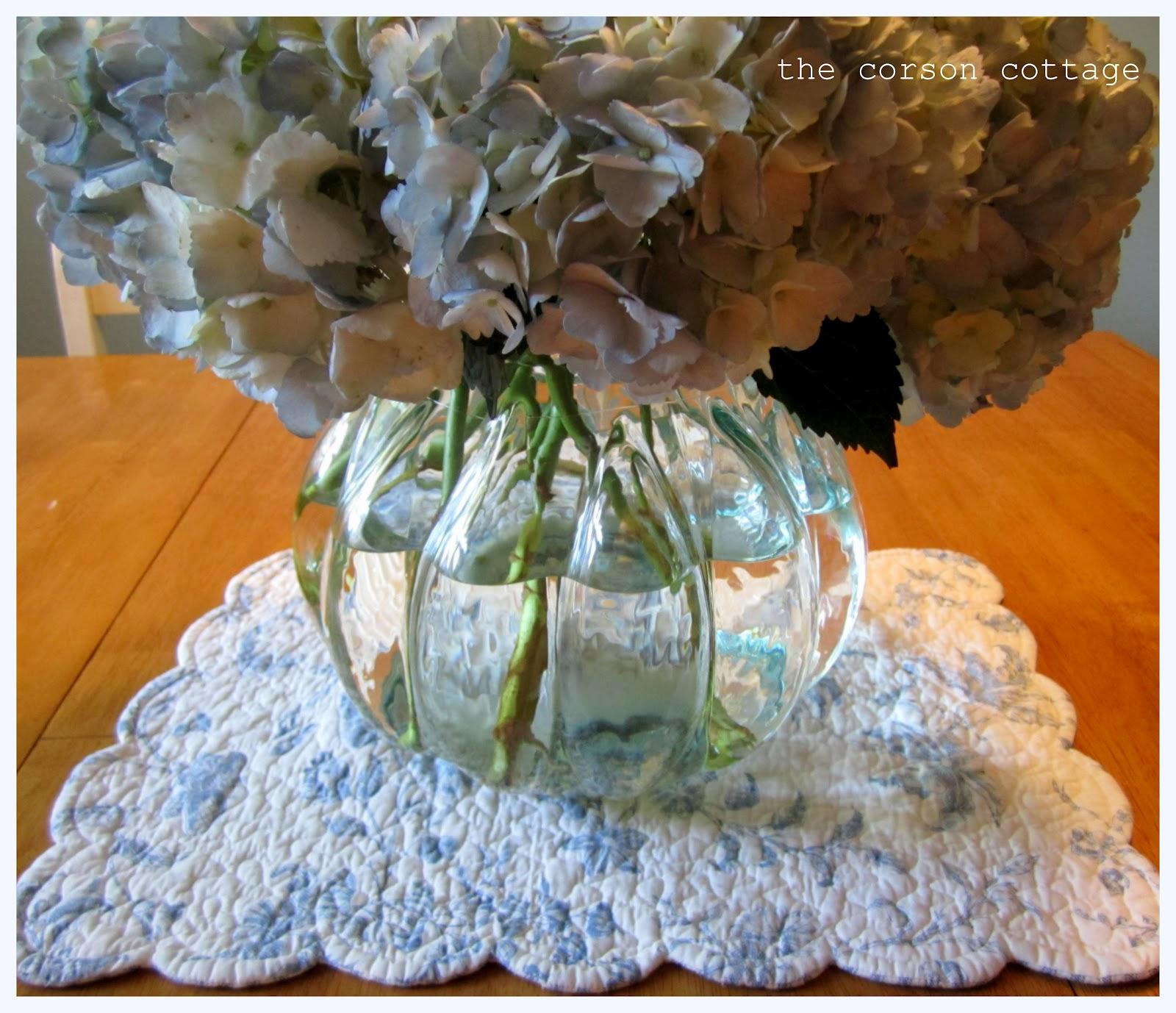 The corson cottage simple summer centerpiece hydrangeas