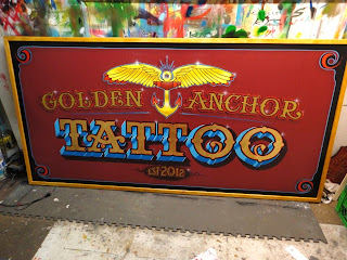 Golden anchor tattoo North america hand painted sign work with brushes stu dobell designs traditional signage dobell designs