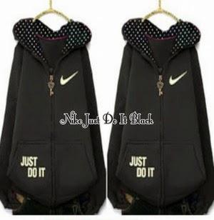 Jaket dan Sweater Wanita Bahan Fleece FJ Nike Just Do It Black