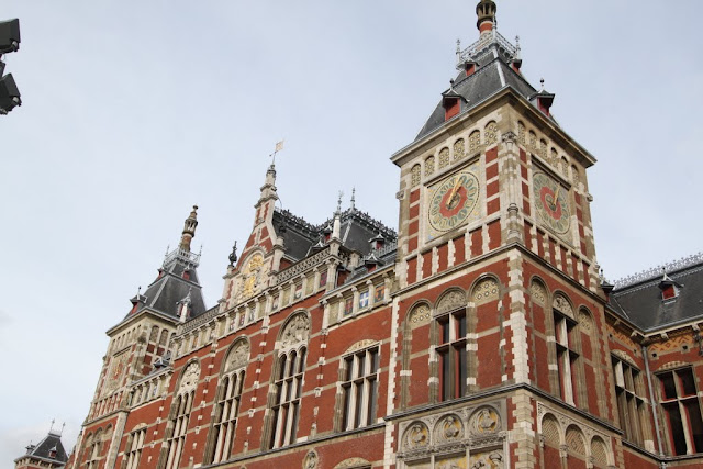 A close view of Amsterdam Centraal Station in Amsterdam, Netherlands