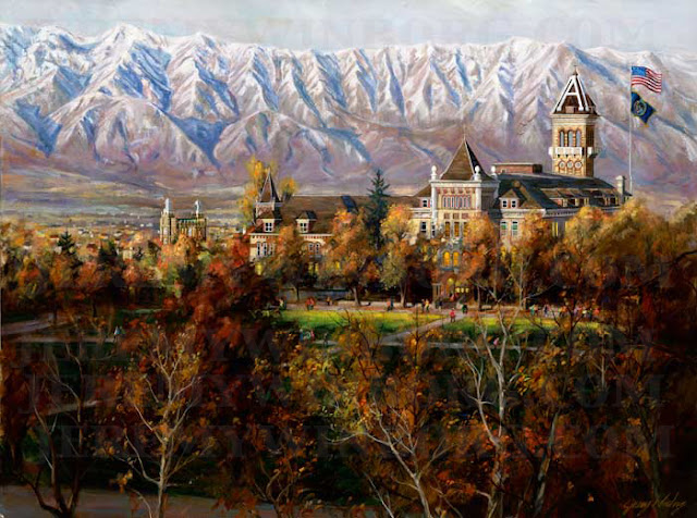 a painting of USU old main autumn the quad at utah state university