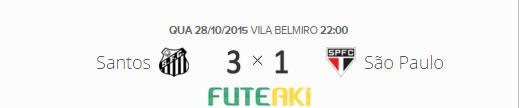 O placar de Santos 3x1 São Paulo pela semifinal da Copa do Brasil 2015