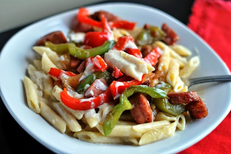 Smoked Sausage Penne Alfredo | Aunt Bee's Recipes