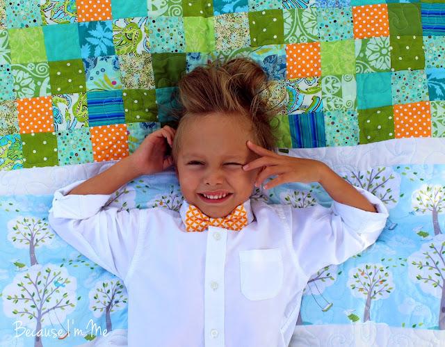 Because I'm Me orange geometric print bow tie and quilt