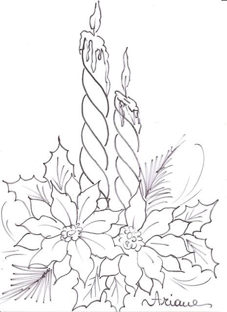 Christmas Flower Line Drawing : Pintura em tecido passo a vela