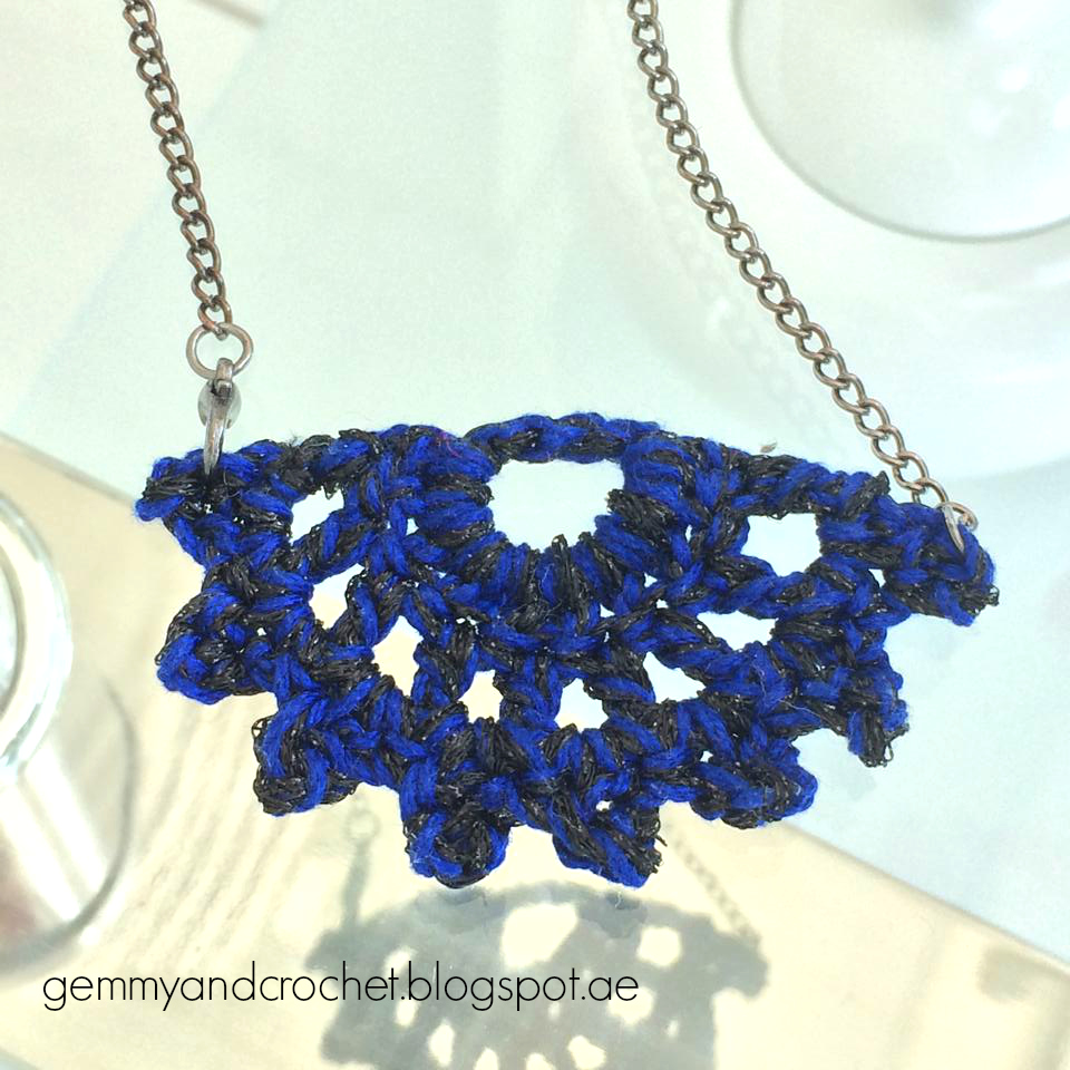 Crochet half moon necklace, crochet necklace