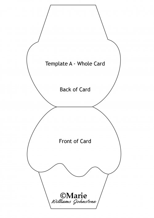 Main printable template for the free shaped card