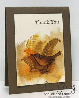 Stampin' Up! An Open Heart stamp set. Watercolored bird and ferns. Watercolor card. Handmade by Lisa Young, Add Ink and Stamp
