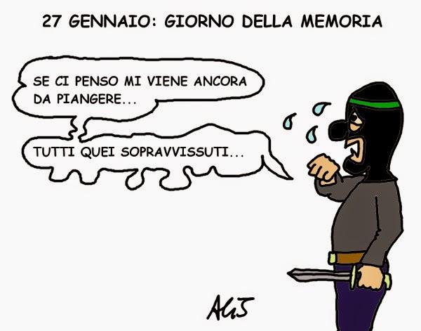 27 gennaio, shoah, giorno della memoria, vignetta satira