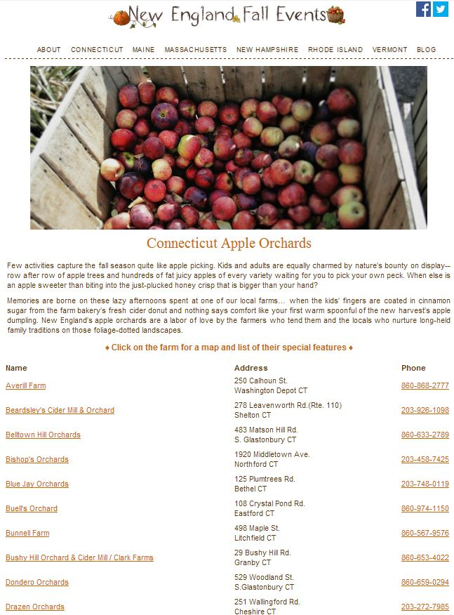CT Apple Picking Guide on New England Fall Events Listing PYO