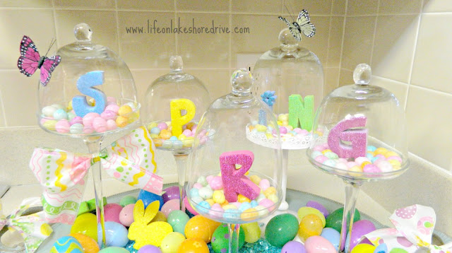 Easter decor mini cloches, jelly beans, Easter eggs, spring