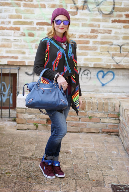 aztec print colorful cardigan, adidas honey hi trainers, Balenciaga City, Fashion and Cookies, fashion blogger
