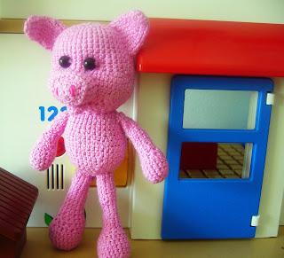 cerdito de ganchillo rosa