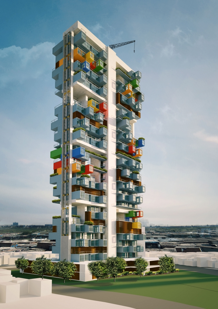 03-Elevation-Ganti-and-Associates-Architecture-Recycled-Container-Skyscraper-Homes-www-designstack-co