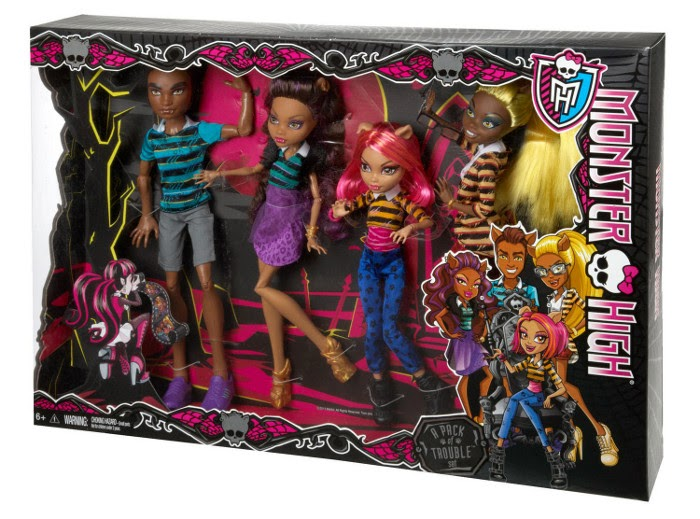 JUGUETES - MONSTER HIGH  A Pack of Trouble | Hermanos Wolf | Pack 4 Muñecas  Producto oficial 2014 | Mattel CBX41 | A partir de 6 años