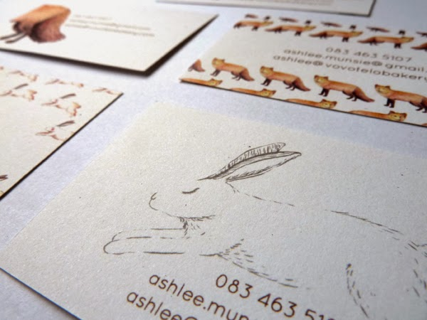 Happiness is... watercolour and pen illustrated fox and hare for business cards