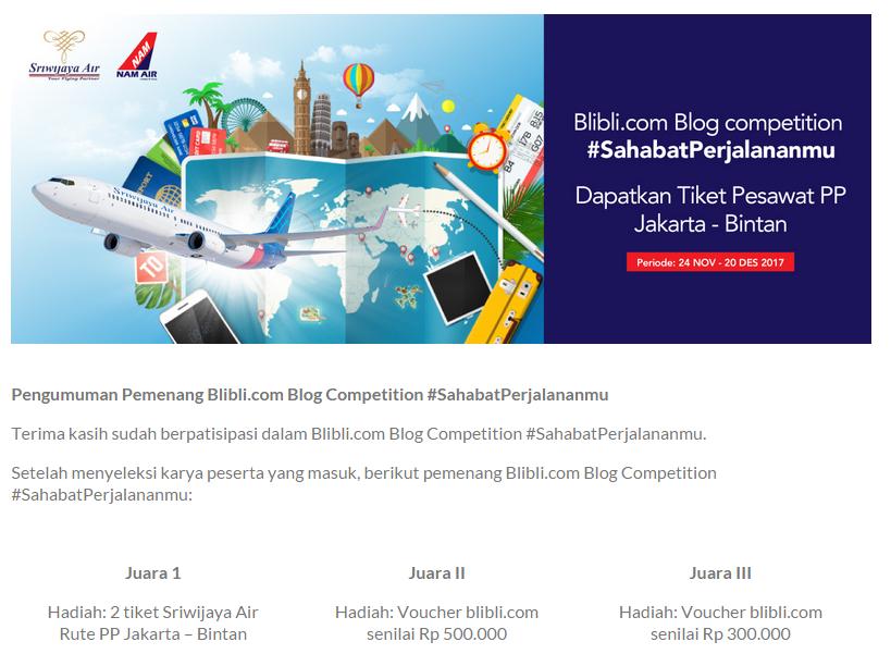 Juara I Lomba Blog Blibli.com- Sriwijaya Air