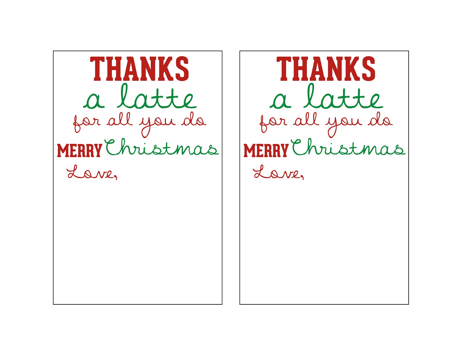 This is a photo of Luscious Thanks a Latte Christmas Printable