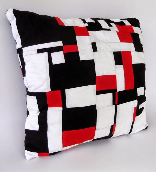 patchwork, abstract patchwork, modern patchwork, suprematism, patchwork cushion, three color patchwork, black white red design, textile design, cushion design
