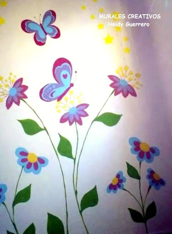 mural de mariposas y flores imagui