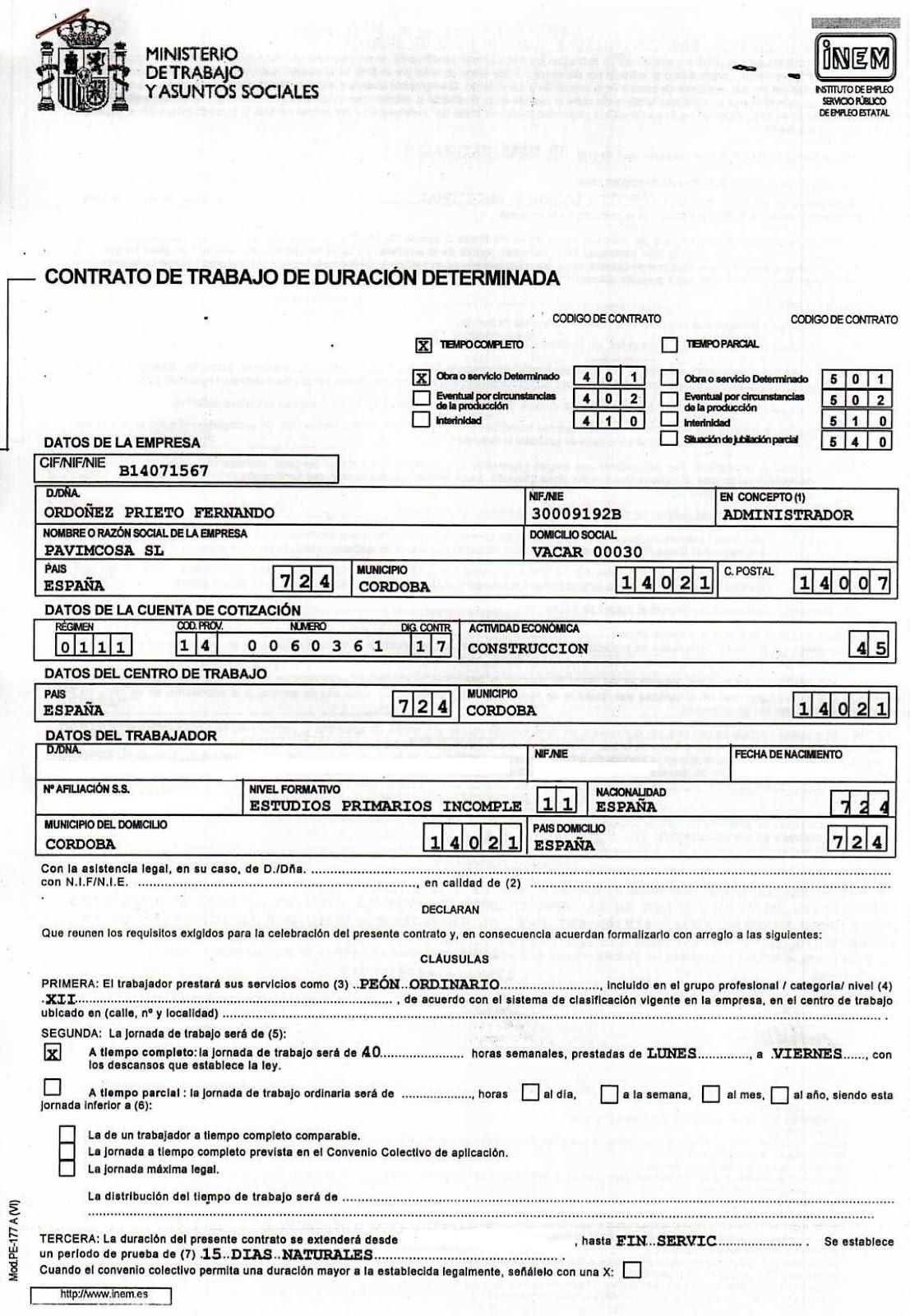 Contratos de trabajo modelos 2012 for Modelo contrato laboral