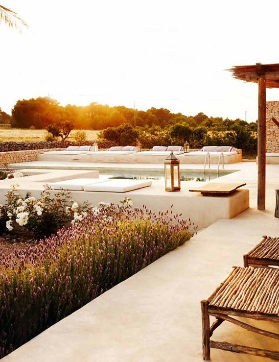 Pool in sunset in Formentera. Photo by Gonzalo Machado for Architectural Digest