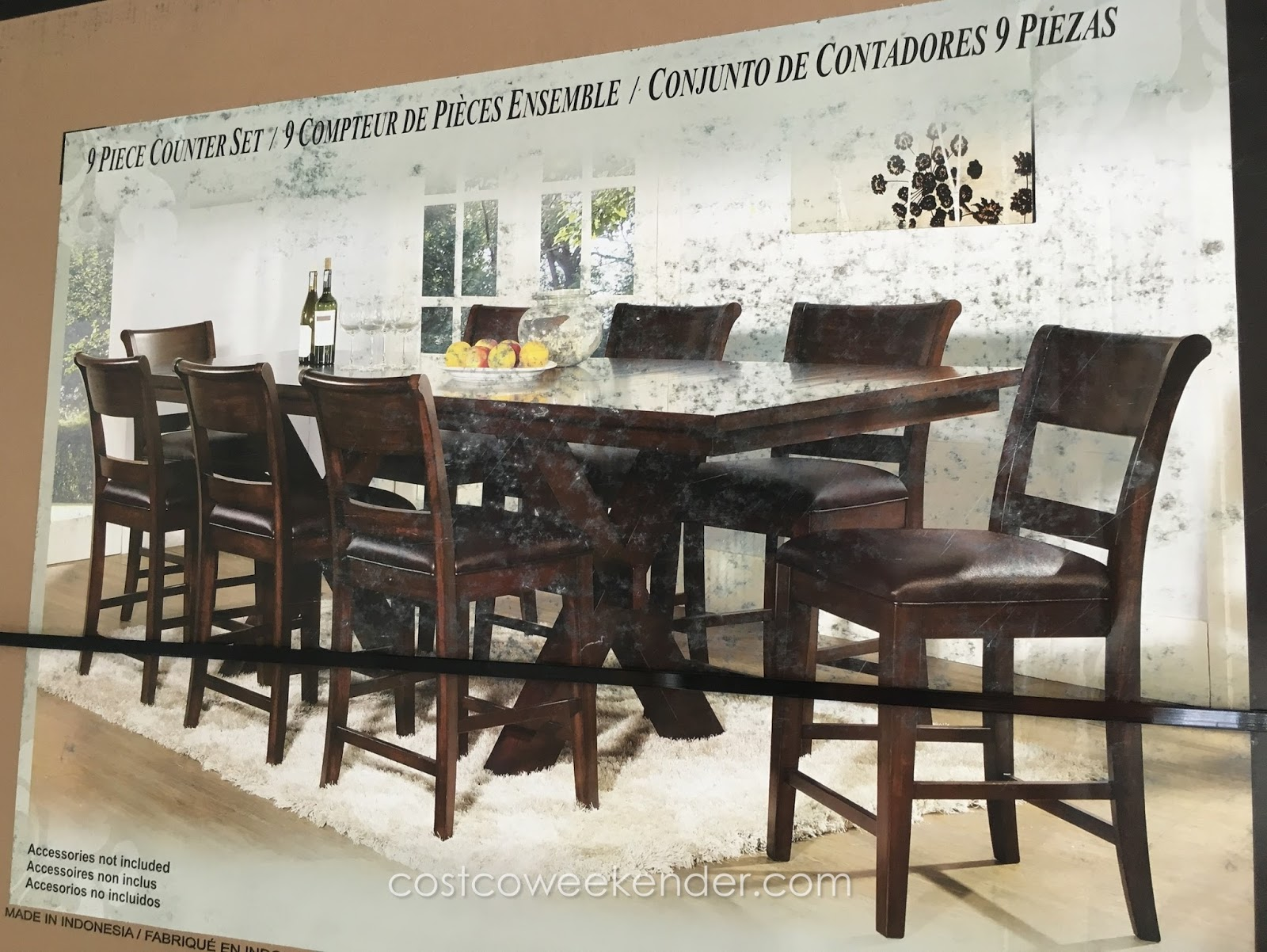 Hillsdale furniture 9 piece counter height dining set costco weekender - Costco dining room set ...