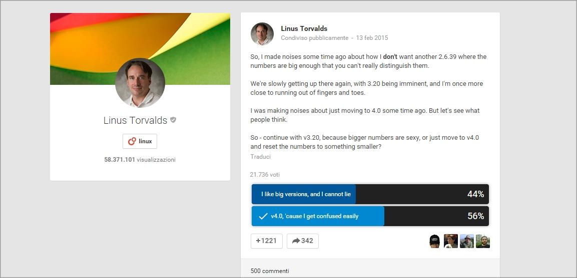 Torvalds sondaggio su Google Plus