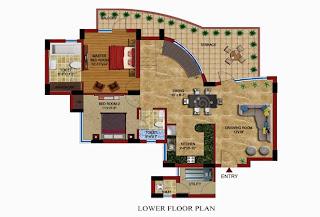Czar Suites :: Floor Plans:-Darius 8 - Lower Floor Plan (With Servant) Area - 2995 sq. ft. Terrace Area - 506 sq. ft.