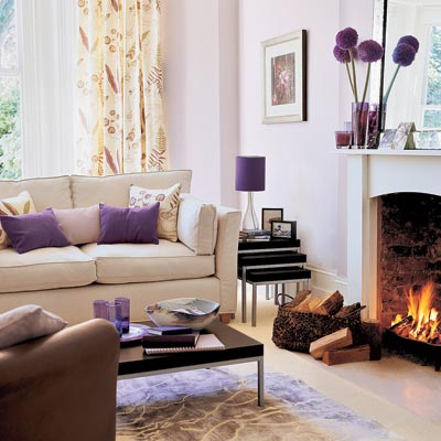 An american housewife purple for Living room ideas purple
