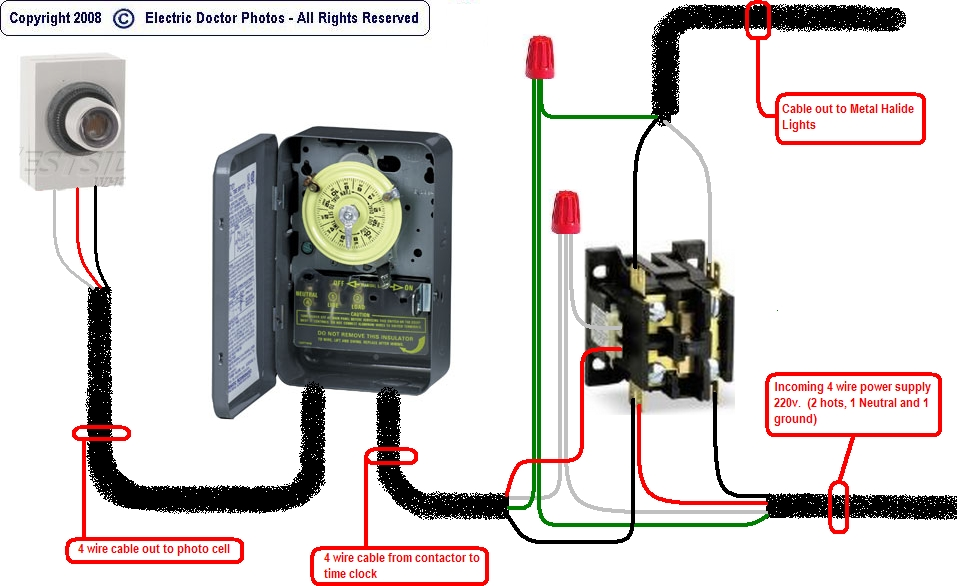 Wiring Diagram For Time Clock And Contactor : Lighting contactor wiring diagram with photocell
