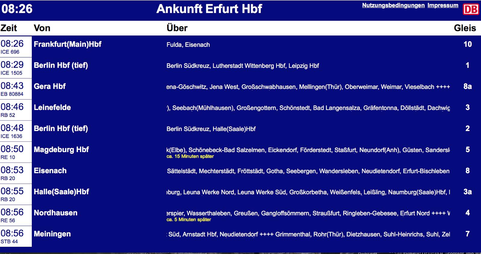 Ankunft Hbf Erfurt